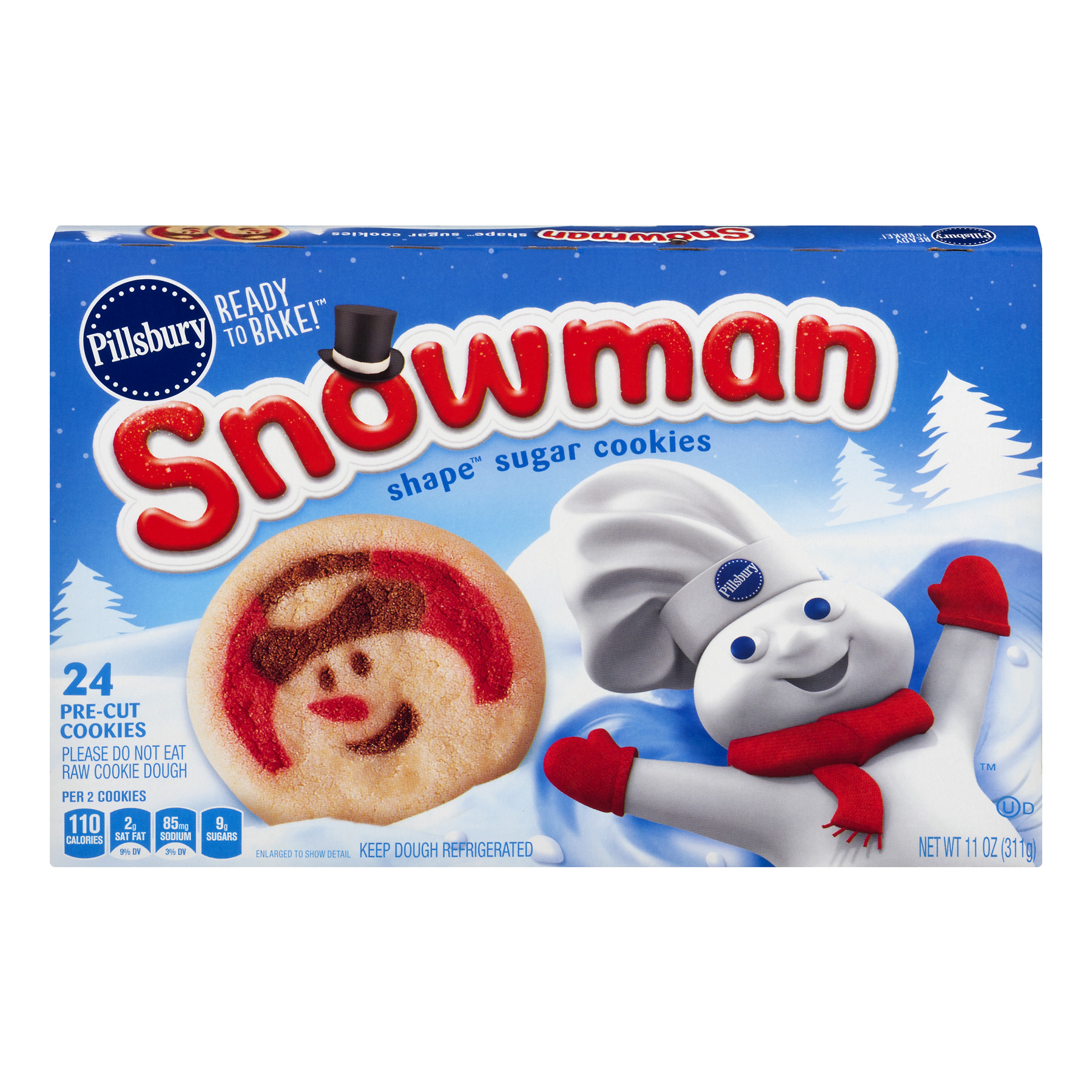 Pillsbury Ready To Bake! Snowman Shape Sugar Cookies - 24 CT