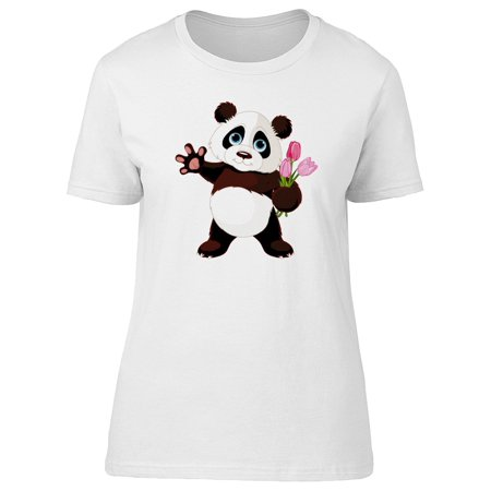 - Cartoon Panda With A Bouquet Tee Women's -Image by Shutterstock