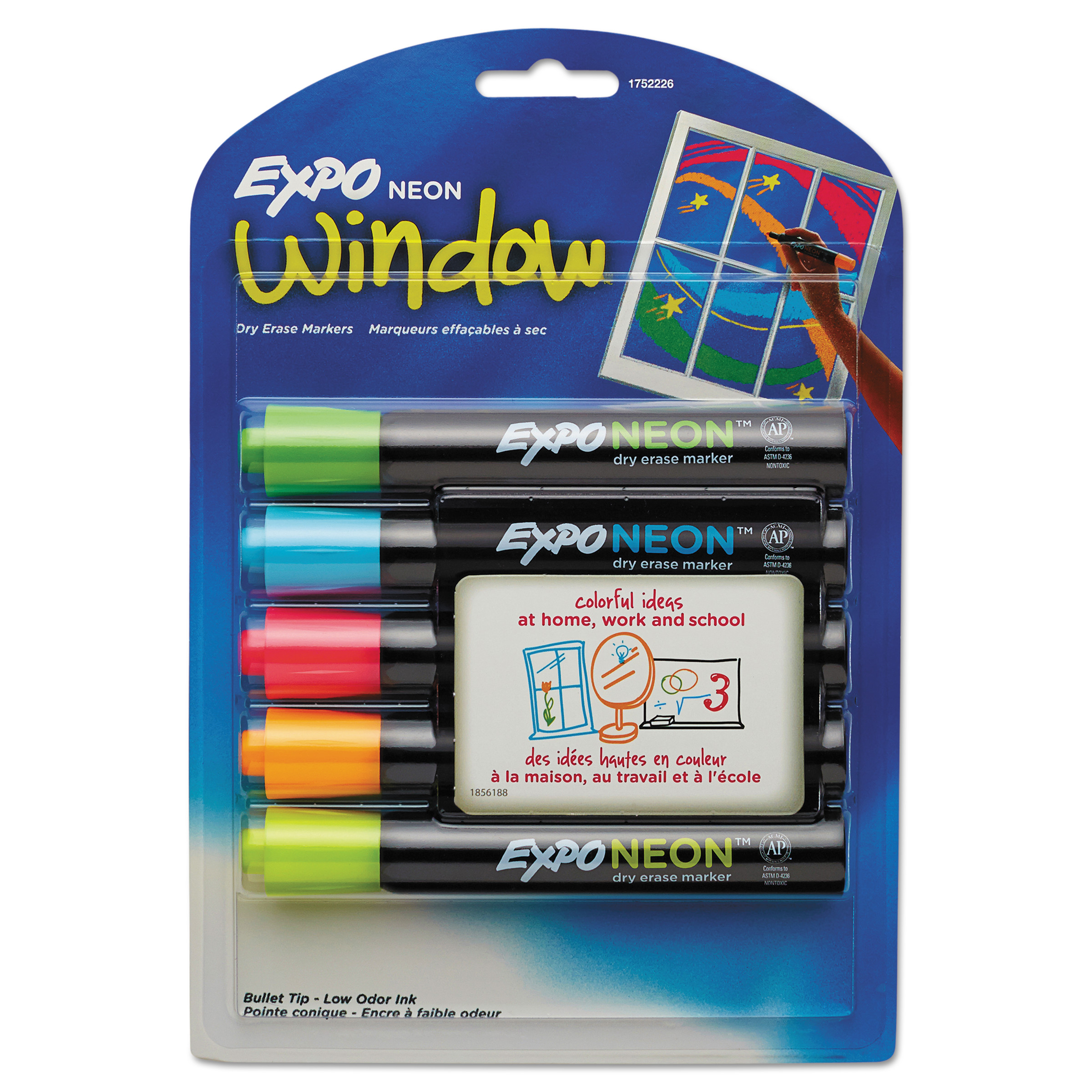 Expo Neon Dry Erase Marker, Bullet Tip, Assorted, 5pk
