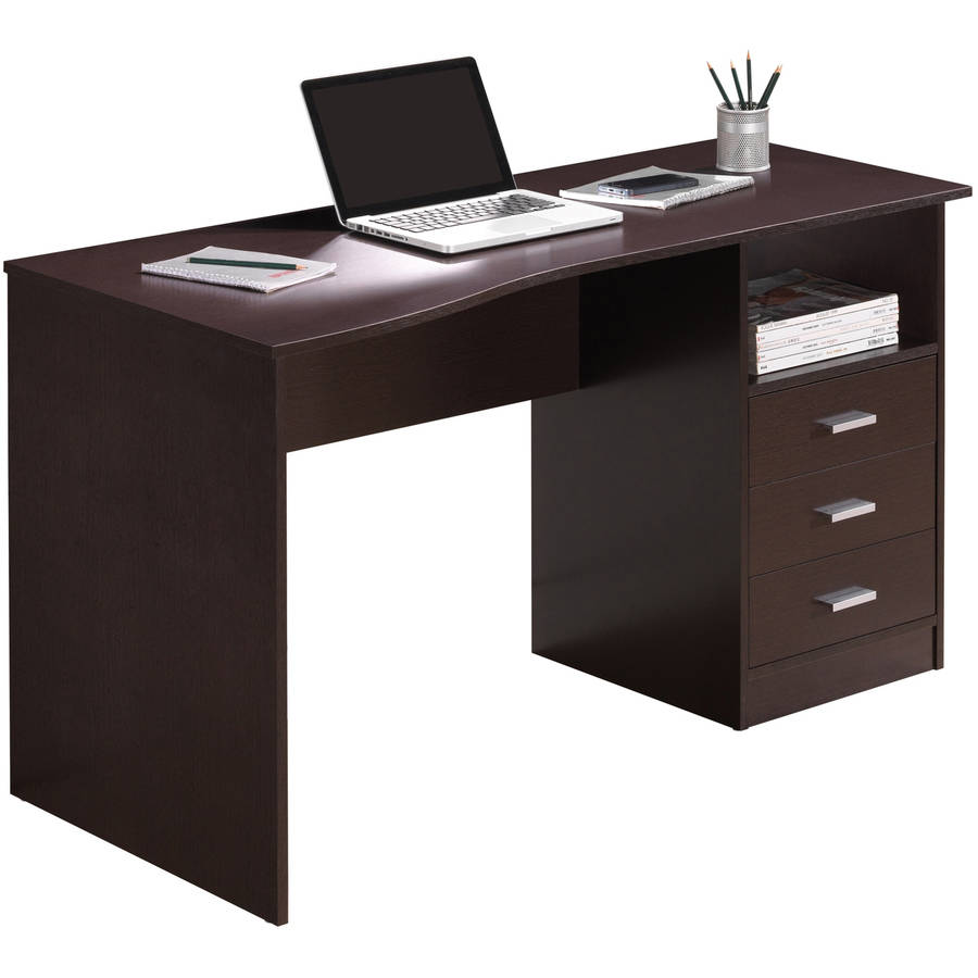 Techni Mobili Classic Computer Desk with Multiple Drawers, Wenge