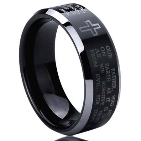 Men Women 8MM Titanium Comfort Fit Wedding Band Ring Lord's Prayer with Cross Praying Black Ring (6 to 14)](Wedding Unity Cross)