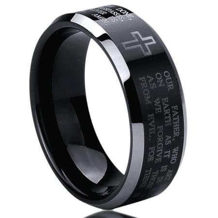 Men Women 8MM Titanium Comfort Fit Wedding Band Ring Lord's Prayer with Cross Praying Black Ring (6 to