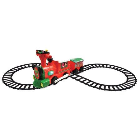 Kiddieland Disney Mickey & Minnie Mouse 2-in-1 Battery-Powered Christmas Train with Caboose ()