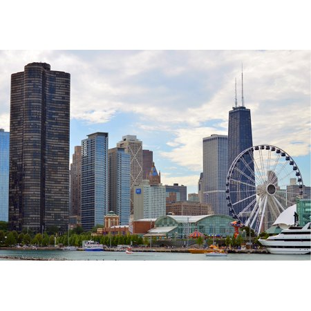 LAMINATED POSTER Skyscrapers Urban City Skyline Chicago Illinois Poster Print 24 x 36 (Party City Hours Chicago)