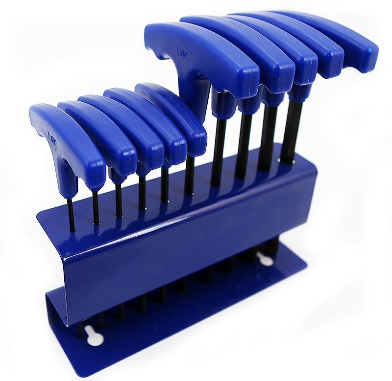 """3/32"""" To 3/8"""" T-handle Hex Keys Allen Wrench Hand Tool Set with Stand SAE, 10PC"""