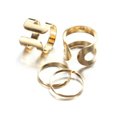 Mio Ring - 1Set Punk Fashion Lady Gold Knuckle Mid Finger Tip Stacking Rings Kit