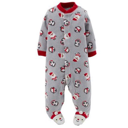 Carter Infant Boy Plush Gray Christmas Sleeper Santa Sleep Play Pajama NB