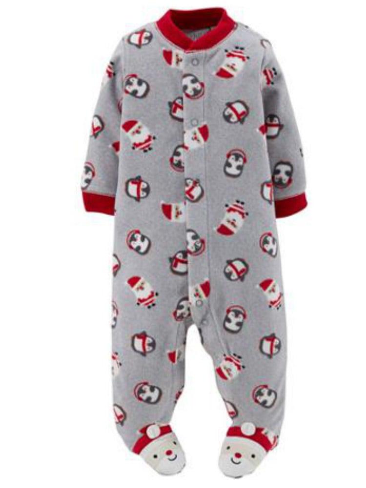 Carter Infant Boy Plush Gray Christmas Sleeper Santa Sleep Play Pajama