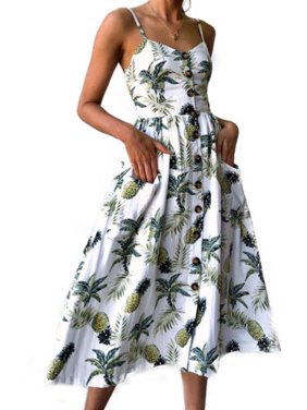 16d51b39b27 Product Image Women Holiday Strappy Floral Maxi Dresses Summer Beach Party Midi  Swing Sundress