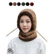 Luxtrada Womens Winter Beanie Hat Scarf Hat Set Conjoined Neck Head Warmer Wrap Warm Winter Hats Neck Scarves (Khaki)