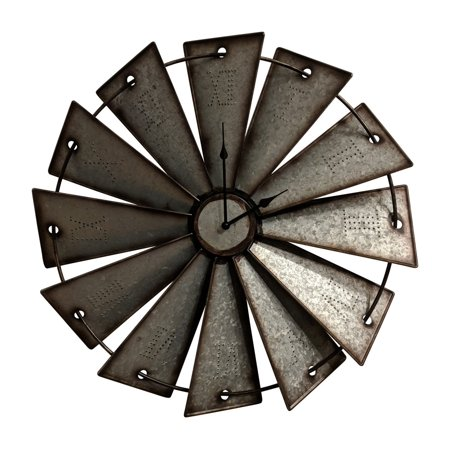 Gianna's Home Rustic Farmhouse Country Metal Windmill Wall Clock 24