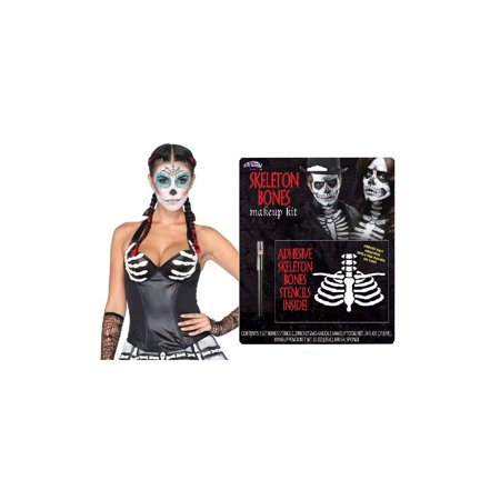 Day of the Dead Latex Corset and Skeleton Bones Makeup Women Set (Skeleton Makeup)