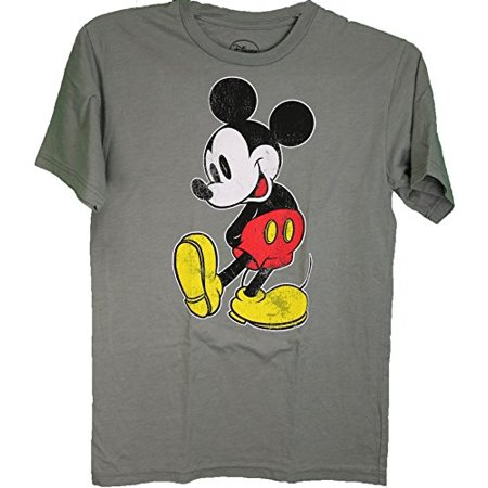Disney Mickey Mouse Distressed Logo Adult Tee Shirt Light Gray Small - Adult Disney Shirts