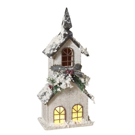 Lighted, White Wood Church with Steeple and Seasonal Accents Figurine (Church Accent)