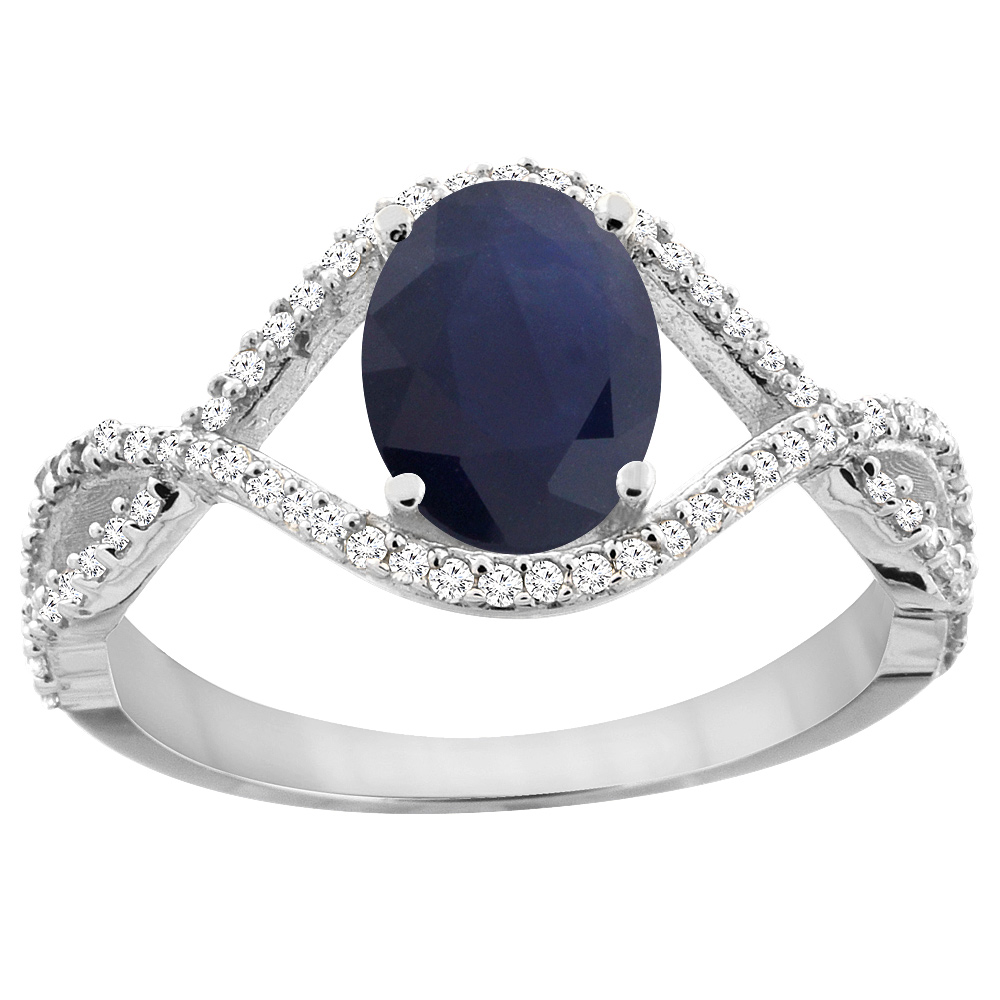 14K White Gold Natural HQ Blue Sapphire Ring Oval 8x6 mm ...