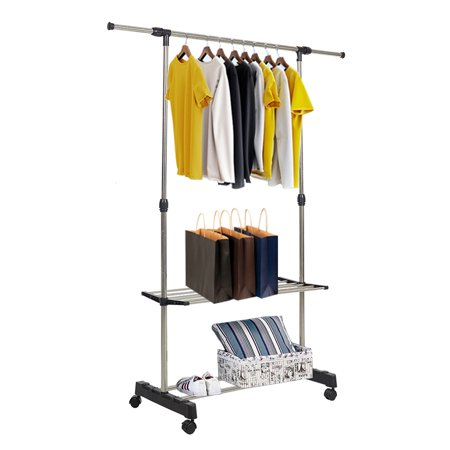 KARMAS PRODUCT Rolling Clothing Rack Single Rod Height Length Adjustable Hang Garment Rack with Top Rod and Two Storage Shelf ()