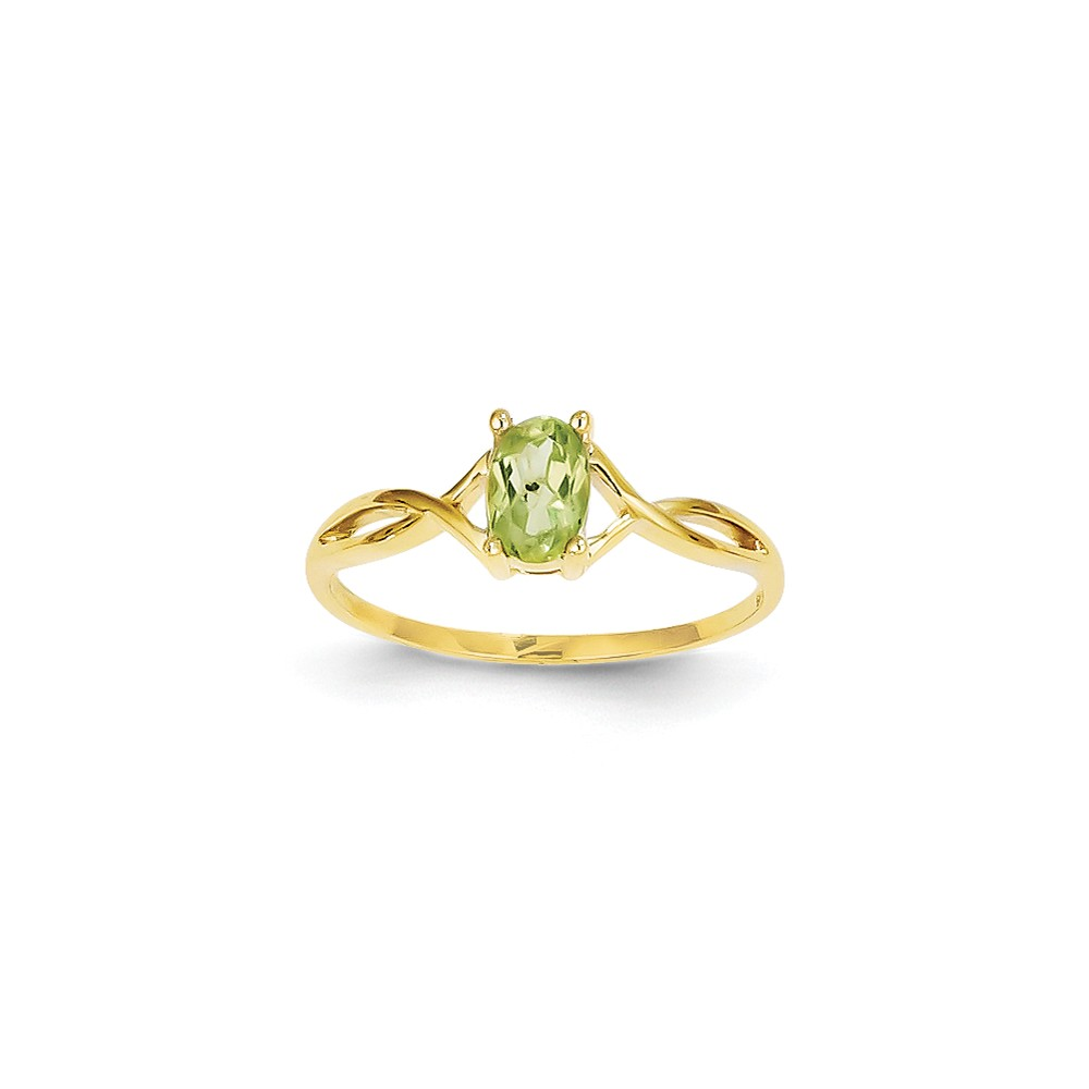 14K Yellow Gold Peridot Birth Month Ring Size-7 by