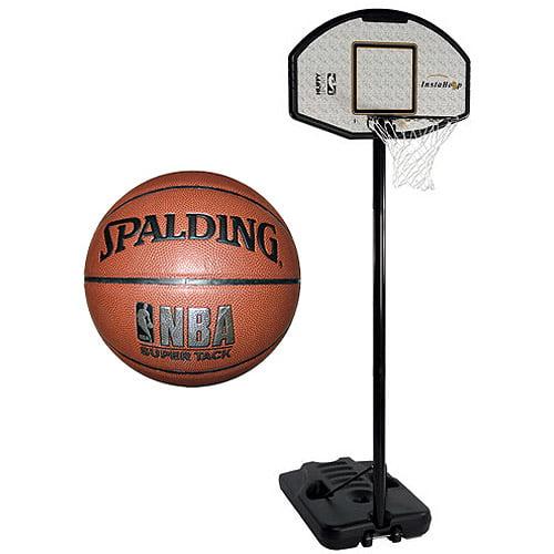 "Spalding NBA Eco-Composite 44"" Portable Basketball System with NBA Super Tack Basketball Bundle"