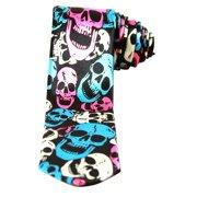 Neon White Blue Pink Skulls Black Neck Tie