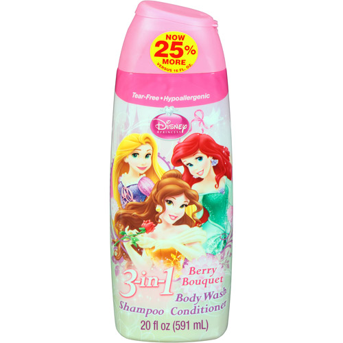 Disney Princess Berry Bouquet 3 in 1 Body Wash, Shampoo & Conditioner, 20 fl oz