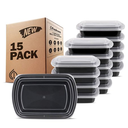 Free Stereo (Freshware Meal Prep Containers [15 Pack] 1 Compartment with Lids, Food Storage Bento Box | BPA Free | Stackable | Lunch Boxes, Microwave/Dishwasher/Freezer Safe, Portion Control, 21 day fix (28)