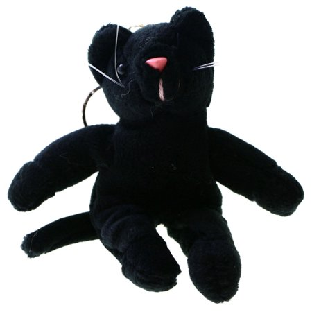 Stuffed Animal Kitty Cat Split-Ring-Keychain Black/Pink - Stuffed Animal Keychains