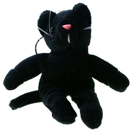 Stuffed Animal Kitty Cat Split-Ring-Keychain Black/Pink Black Cat Keychain Measures