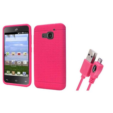 Insten Rugged Gel Rubber Case For Huawei Magna   Hot Pink    Free Usb Cable   2 In 1 Accessory Bundle
