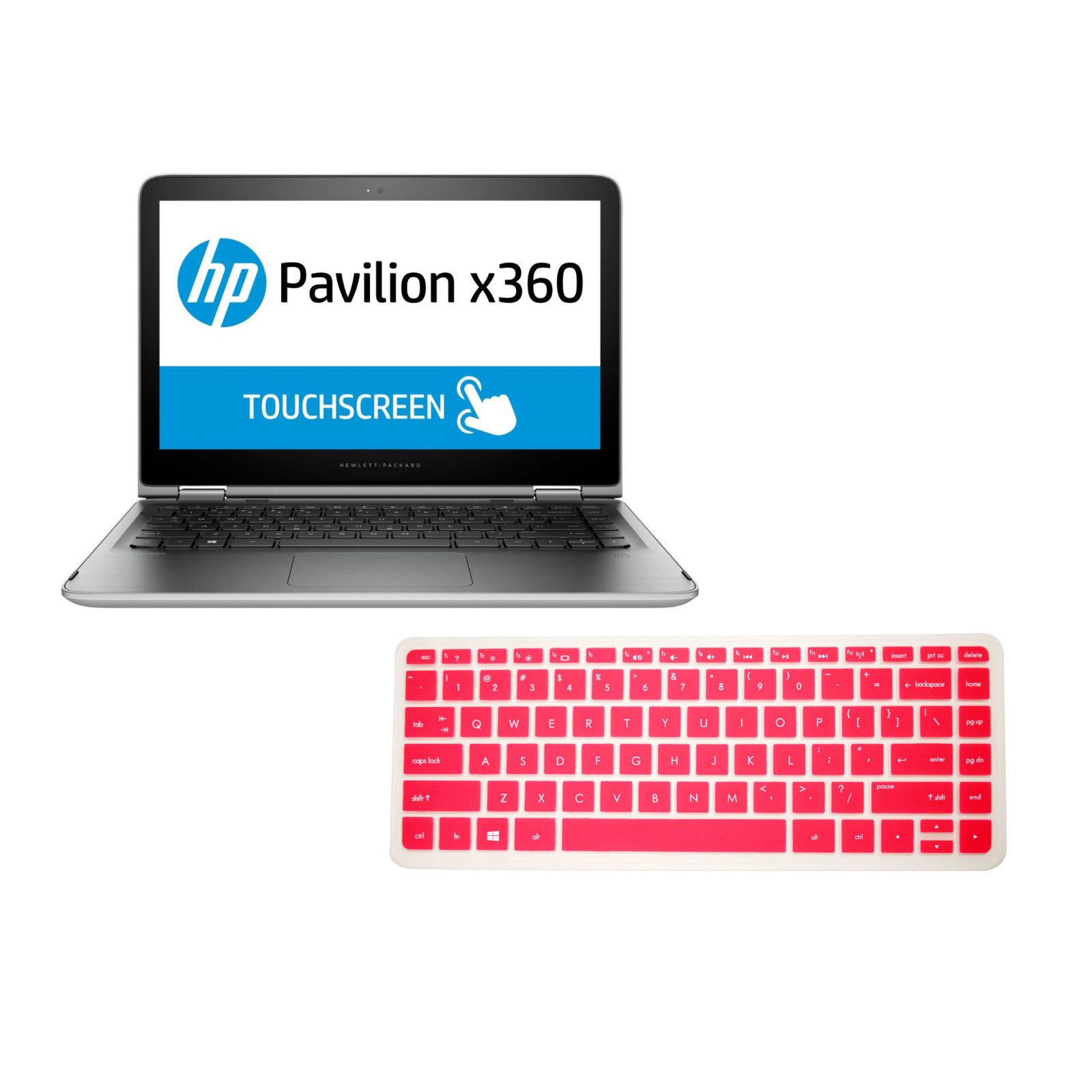 """PcProfessional Hot Pink Ultra Thin Silicone Gel Keyboard Cover for HP Pavilion x360 13.3"""" 13t s020nr s067nr [2015 Model] Laptop (Please Compare Keyboard Layout and Model)"""