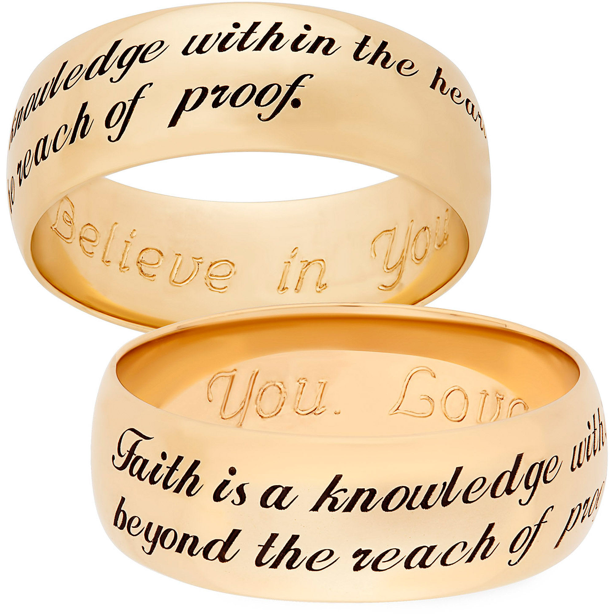 "Personalized Gold over Sterling Silver Sweet Sentiments ""Faith"" 7mm Band"