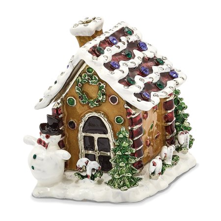 Bejeweled Trinket Box - Bejeweled Pewter Gingerbread House Trinket Box