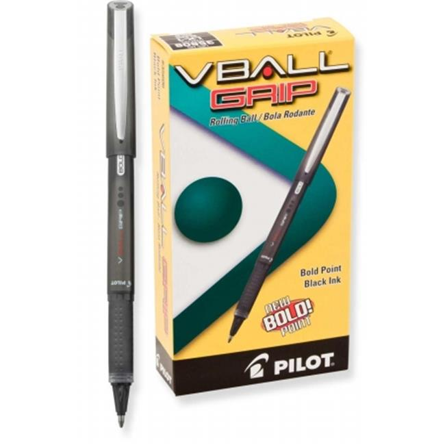 Pilot Corp.  Of America 35470 VBall Grip Roller Ball Stick Pen; Liquid Ink; Black Ink; Extra Fine, Dozen
