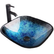 ELECWISH Square Tempered Glass Bathroom Vessel Sink Artistic Square Ocean Blue Washing Basin Bowl, Oil Rubbed Bronze Faucet Pop up Drain Combo