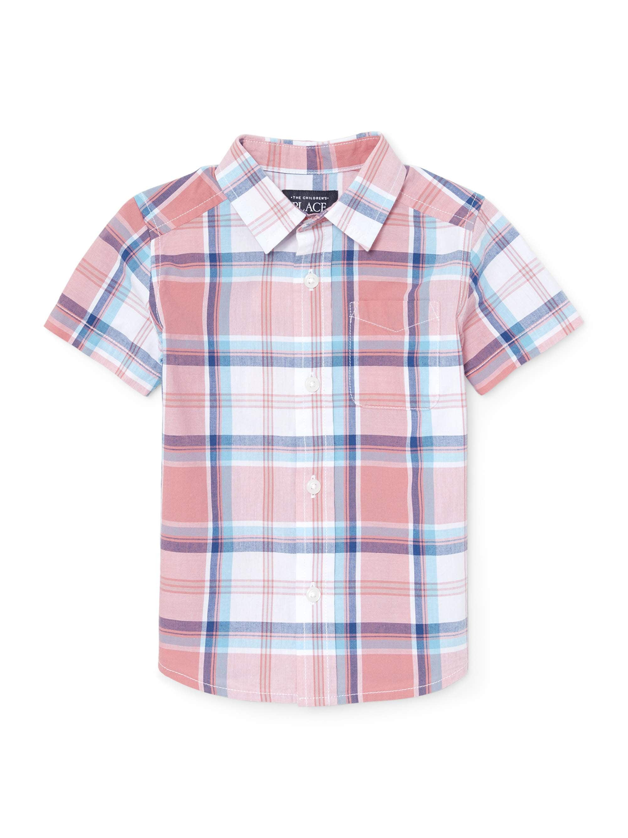 Short Sleeve Plaid Poplin Button Up Shirt (Baby Boys & Toddler Boys)