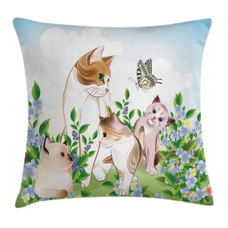 Cat Throw Pillow Cushion Cover, Cute Kittens in Flower Meadow Field Happy Cats Family with Butterfly Kids Cartoon Print, Decorative Square Accent Pillow Case, 18 X 18 Inches, Multi, by Ambesonne