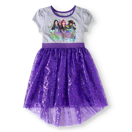 Disney Disney Girls Glitter Graphic Short Sleeve Dress With Foil