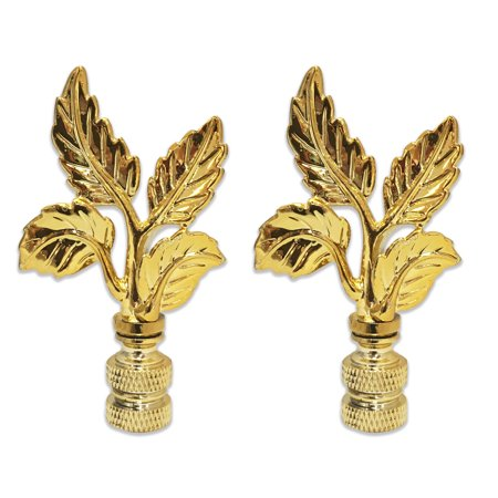 - Royal Designs Elegant Leaves Lamp Finial for Lamp Shade- Polished Brass Set of 2