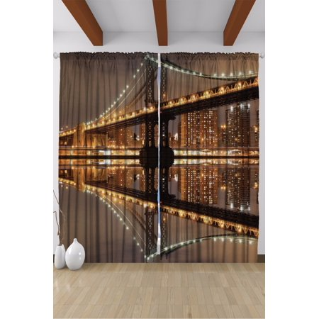 New York City Brooklyn Bridge Living Room Curtains 2 Panels Set 108x90 Inches