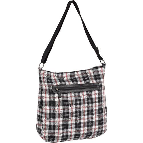 Women's Black and White Plaid and Floral Crossbody Handbag