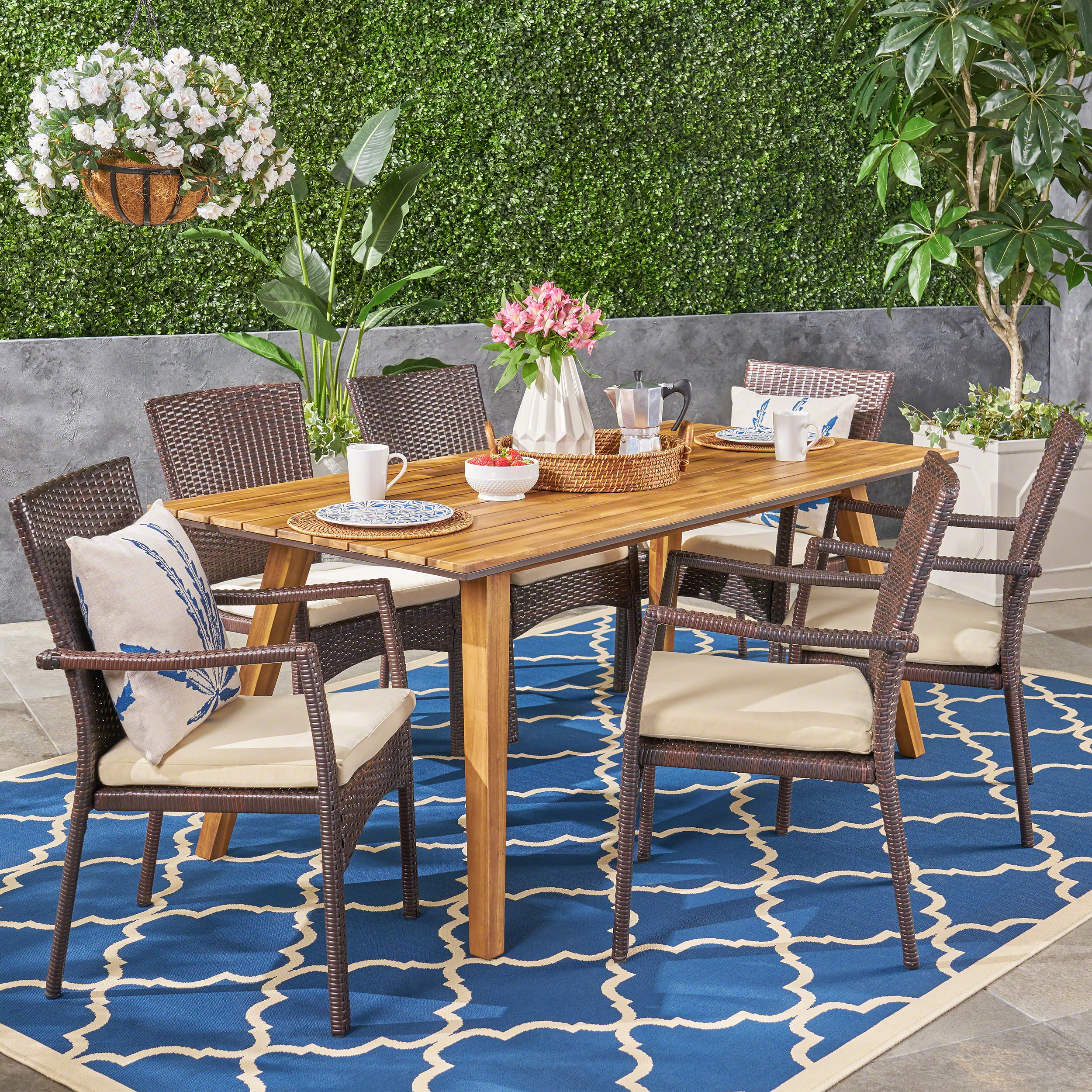 Moshe outdoor 7 piece acacia wood dining set with wicker chairs brown teak cream walmart com