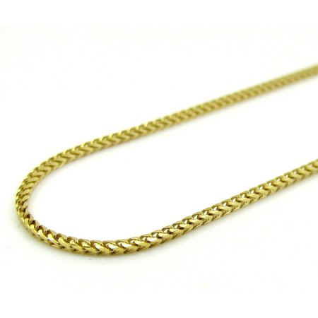 14K Yellow Gold Mens 1.1MM Solid Diamond Cut Franco Chains Necklace 16 to 22 Inches, 16 Inches