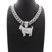 """Hip Hop Fashion Iced Out GOAT Pendant w/ 12mm 20"""" Silver Tone Iced Out Cuban Chain"""