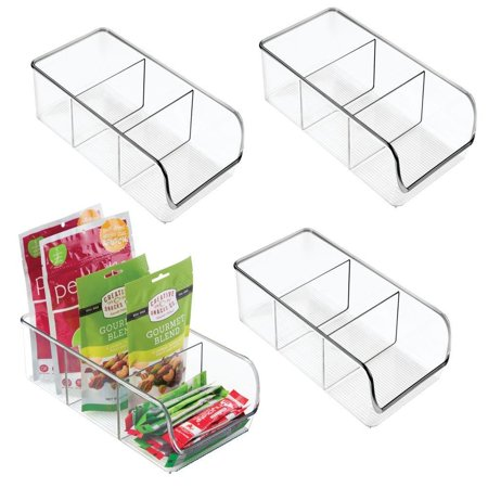mDesign Plastic Food Packet Kitchen Storage Organizer Bin Caddy - Holds Spice Pouches, Dressing Mixes, Hot Chocolate, Tea, Sugar Packets in Pantry, Cabinets or Countertop - 4 Pack - Clear Pack of 4 ()