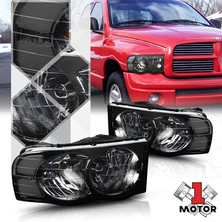 Smoke Tinted Headlight Clear Signal Reflector For 02 05 Dodge Ram 1500 2500 3500 03 04