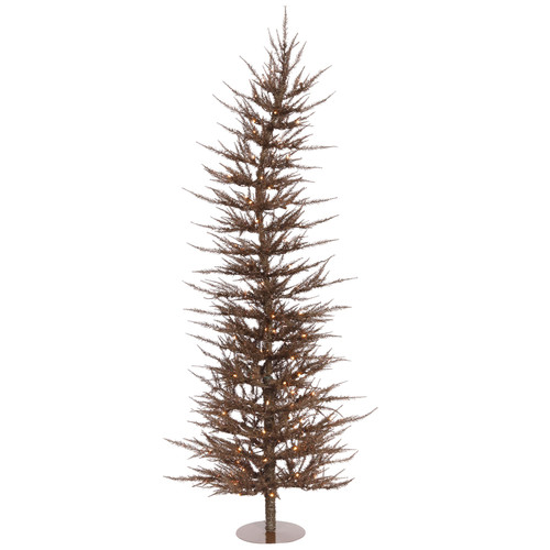 Vickerman Colorful Laser 5' Mocha Artificial Christmas Tree with 100 Clear Pink Lights