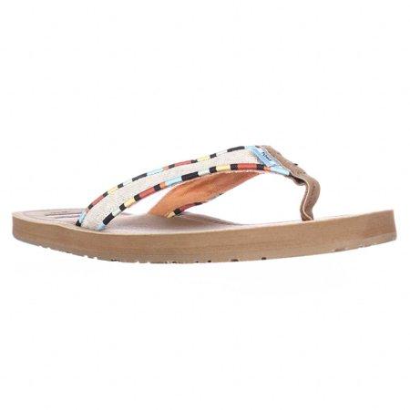 c5c81d3de7d1 Womens TOMS Solana Flip Flop Sandals - Natural Burlap Multi - Walmart.com