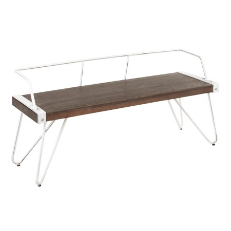 Stefani Industrial Bench in Vintage White Metal and Espresso Wood-Pressed Grain Bamboo by LumiSource ()