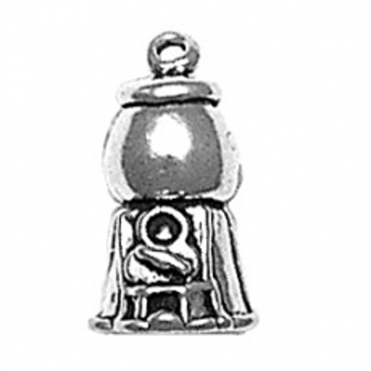 """Sterling Silver 16"""" .8mm Box Chain 3D Bubble Gum Gumball Machine Pendant Necklace"""