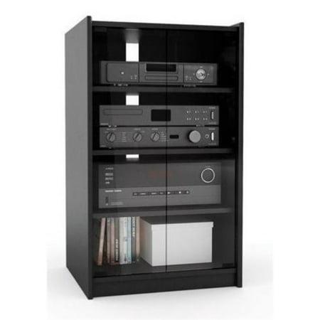 Bowery Hill Enclosed Audio Rack in Ravenwood Black