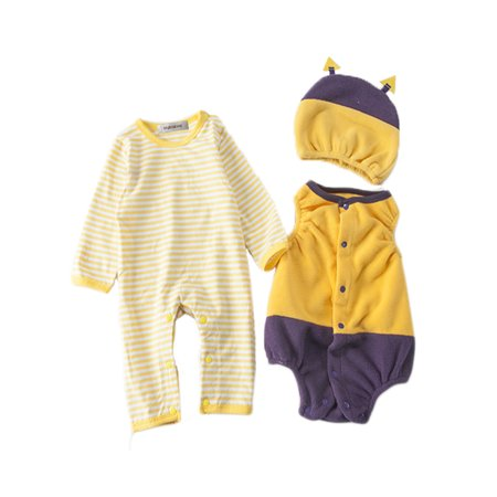 StylesILove Chic Halloween Baby Boy 3-PC Costume Set With Hat (6-12 Months, Bee) (Baby Twin Halloween Costumes)